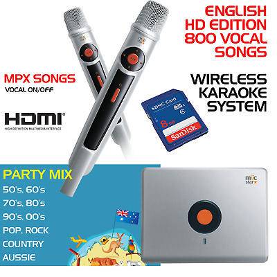 Miic Star Ms-62 English Karaoke System, Wireless Mics - With 800 Mp4 Songs