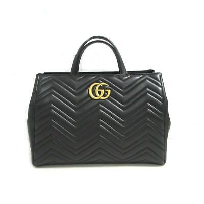 71320aad725 GUCCI GG Marmont Quilted Medium Top Handle Hand Bag 443505 chevron leather  Black