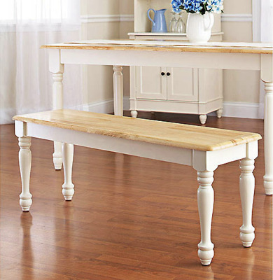 Dining Bench Kitchen Table Farmhouse Wood Seat Country White Extra Seating