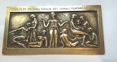 Antique French brass plaque, Mutualite du Personnel Feminin - by S.Zepirson
