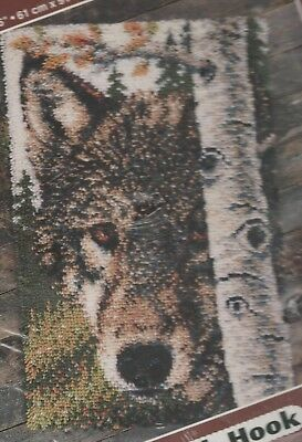 Rare Circa 2000 J P Coats Fully Sealed Large Latch Hook Rug Kit 61Cm X 91Cm Wolf