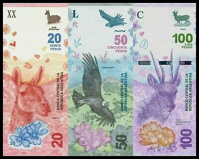 B-D-M Argentina Set 20 50 100 Pesos 2017 2018 2019 Pick New Design SC UNC
