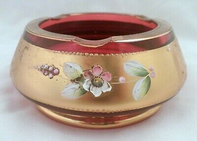 Very Rare Late 19th Century Bohemian Glass Ashtray, Cranberry, Applied Flowers