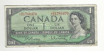 **1954**Canada Mdfd $1 Note, Beattie/Rasm. BC-37bA-i *BM 1780470 Replacement.