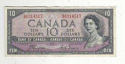 **1954 Devil's Face**Canada $10 Note, Coyne/Towers BC-32a, Ser# DD 6314517