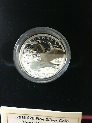 2018 ,3D Approaching Canada Goose, RCM Proof Silver $20 Dollar Coin