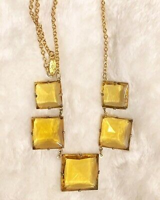 Lovely Art Deco Open Back Light Amber Crystal Necklace