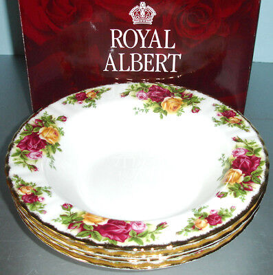 Royal Albert Old Country Roses Set of 4 Rim Soup Bowls New In Box