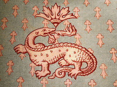 Antique Time Softened French Mythological Dragon Cotton Fabric ~ Apricot Gray