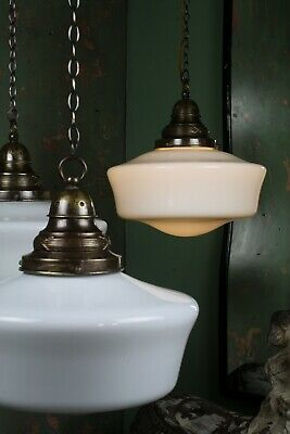 Trio of Extra Large Opaline Pendants Lighting Industrial Salvage Antique