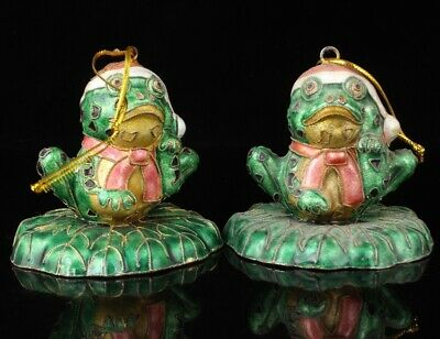 2 Chinese Cloisonne Enamel Pendant Statue Old Hand-Made Frog Craft Collect Gift