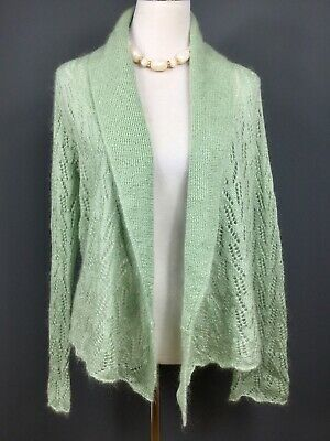 marks and spencer Light Mint Green Mohair Blend Waterfall Style Cardigan UK 14