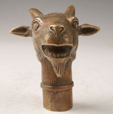 Rare Chinese Bronze Hand-Carved Sheep Statue Walking Stick Old Collection