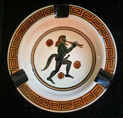 Vintage Greek Ceramic Pottery Hand Painted Made In Greece 450 B.C. Ash Tray