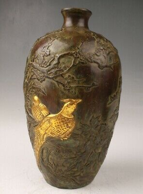 Rare Bronze Gilt Hand Carving Flower And Bird Statue Vase Qianlong System