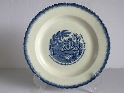 Rare IRISH CHIEFTAIN Clews Staffordshire Pearlware Blue Feather Edge Plate c1815