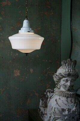 Early 20th Century Butchers Extra Large Opaline & Enamel Pendant Light Antique