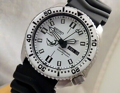 Seiko DX Dolphin Ceramic White Dial Automatic Divers Day/Date Watch Custom 6309