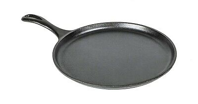 CAST IRON GRIDDLE Lodge 10.5 Inch Pre Seasoned Cookware Pizza Eggs Pancakes Pan