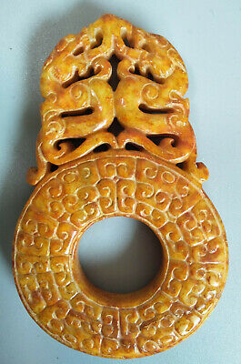 Chinese Exquisite Hand-carved old jade dragon BI  pendant K250