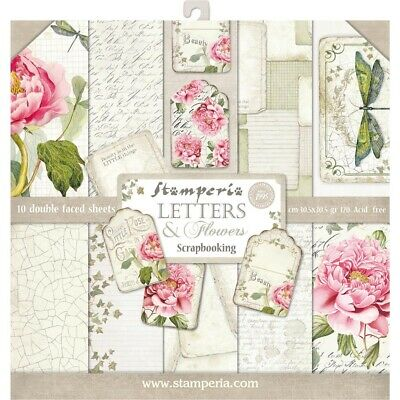 """Stamperia 12"""" x12"""" Paper pack """"Letters & Flowers"""" 10pk"""