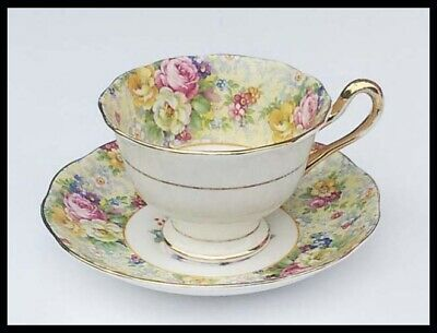 Vtg. Royal Albert Crown China Tea Cup & Saucer-Pink Yellow White Roses & Flowers