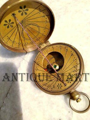Antique Style Solid Brass Timekeeping Pocket Thread Sundial Compass Watch