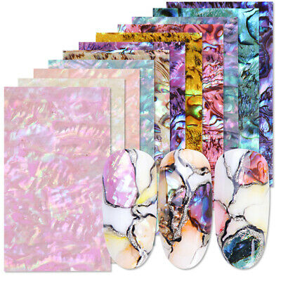 Gradient Marble Shells Pattern Nail Art Foil Stickers Transfer Wrap Decals Decor