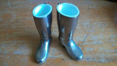 Vintage Pair of Heavy Silver Plated Riding Boots Spirit Measures 1 AND 1 1/2 OZ