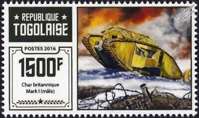WWI British Army Mark 1 (Male) Heavy Tank Stamp (2016 Togo)