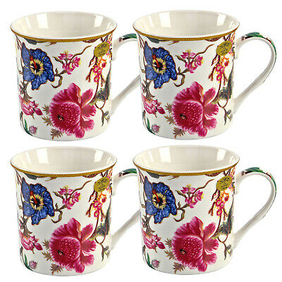 Set of 4 William Morris Anthina Floral Fine China Mugs Coffee Tea with Gift Box