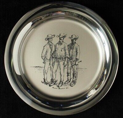 """Australia: 1978 210g Stg Silver Plate """"The Stockmen"""" by Russell Drysdale, Signed"""
