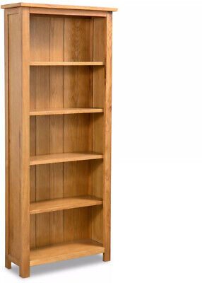 NEW Tall Oak Bookcase Solid Wood Furniture Rustic Wooden Storage Narrow Shelving