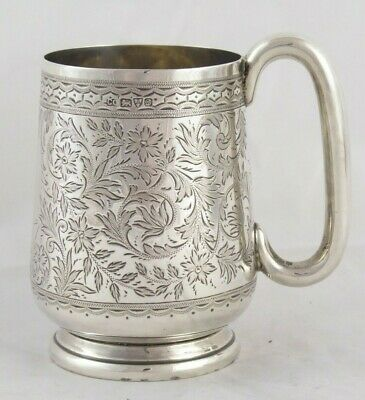 SUPERB ANTIQUE EDWARDIAN SOLID STERLING SILVER MUG TANKARD CHESTER 1904 172 g