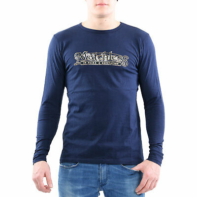 Matchless Men's Crewneck Long Sleeve T-Shirt Grand Navy 114018 Size L