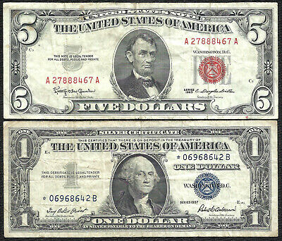 1963 $5 RED! 1957 $1 **STAR** 2 Notes! Old US Paper Money!