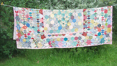 """Vintage 1958 Intricate Handmade Patchwork Quilt Bedspread 68"""" x 88""""  Sewn Names"""