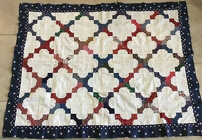 Country Patchwork Quilt Top, Bow Tie, Red, Navy Blue, Off White, Calico Prints