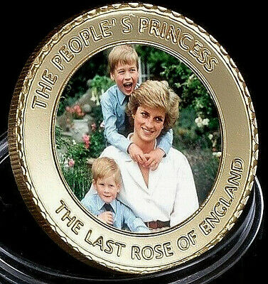 Princess Diana Gold Coin Signed Royalty Prince William Harry Candle in the Wind