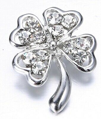 Silver 4 Leaf Clover Badge Brooch Good Luck St Paddys Day Irish Gems Jewelry USA
