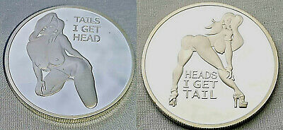 Heads I Get Tail Tails I Get Head Silver Coin Beautiful Sexy Naked Woman Funny