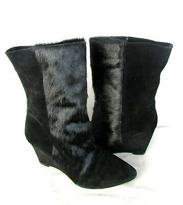 07cf2922bf97c Isabel Marant Solid Black Real Fur / Suede Leather Wedge Boots SZ 39/ US 8.5
