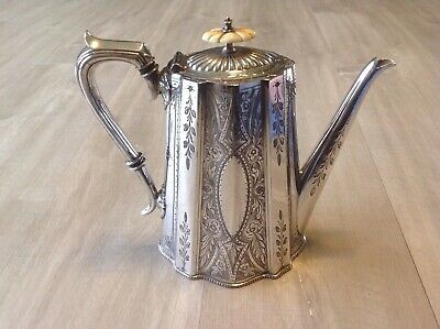 Beautiful Antique Sheffield Silver plate Ornate Repousse & Engraved Coffee Pot