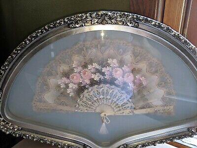 Vintage Antique Framed hand painted silk and feather & bone fan.
