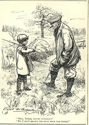 Vintage 1911 Punch Cartoon: Little Boy Fishing Humor - Worms Not Trying