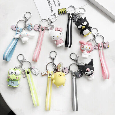 Cute 3D Hello Kitty Kuromi Cinnamoroll Melody Keychain Key Ring Bag Silver Chain