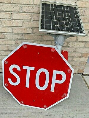 "Tapco Solar Traffic 24"" Stop Sign LED Tested and Working Blinkerstop"