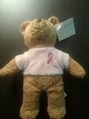 Vintage 2001 AVON Breast Cancer Crusade plush bead Teddy Bear Pink Ribbon