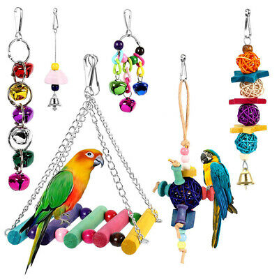 6 Pcs/Set Beaks Metal Rope Parrot Toys Budgie Cockatiel Cage Small Bird Toy