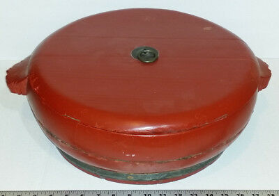 Old Vintage to Antique Large Chinese Red Lacquered Wood & Brass Lidded Container